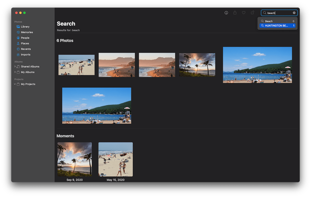 How to search in macOS Photos