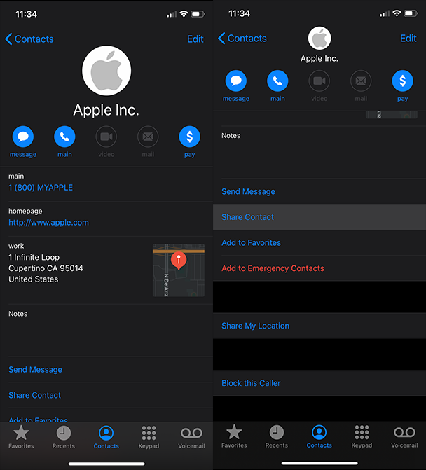 Screenshots: How to AirDrop iPhone contacts to a Mac