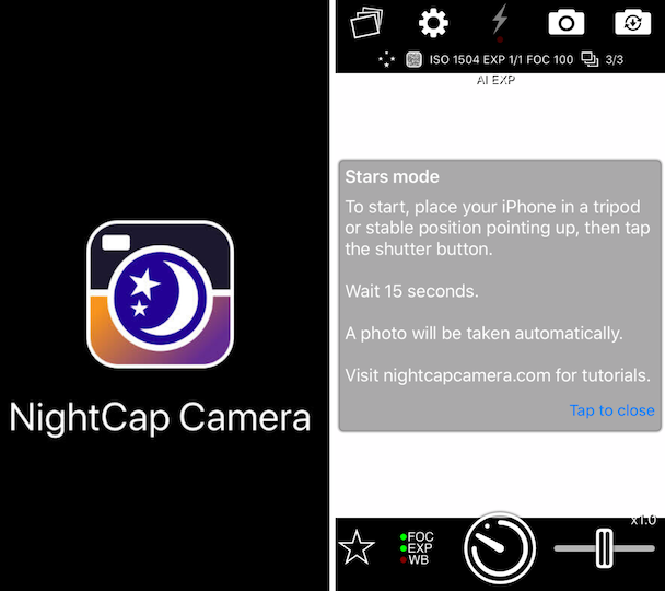 NightCap Camera, and iPhone app for night sky photography