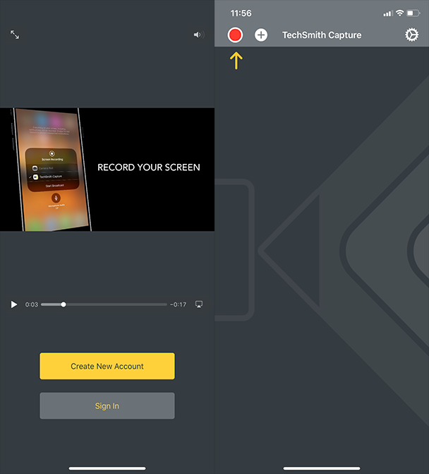 Screenshots of TechSmith Capture, an iOS screen recorder