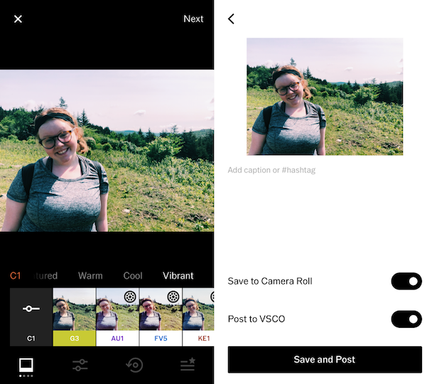 Screenshots of VSCO, one of the best filter apps for selfies