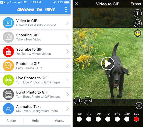 Screenshots of video to GIF, a GIF video app for iPhone