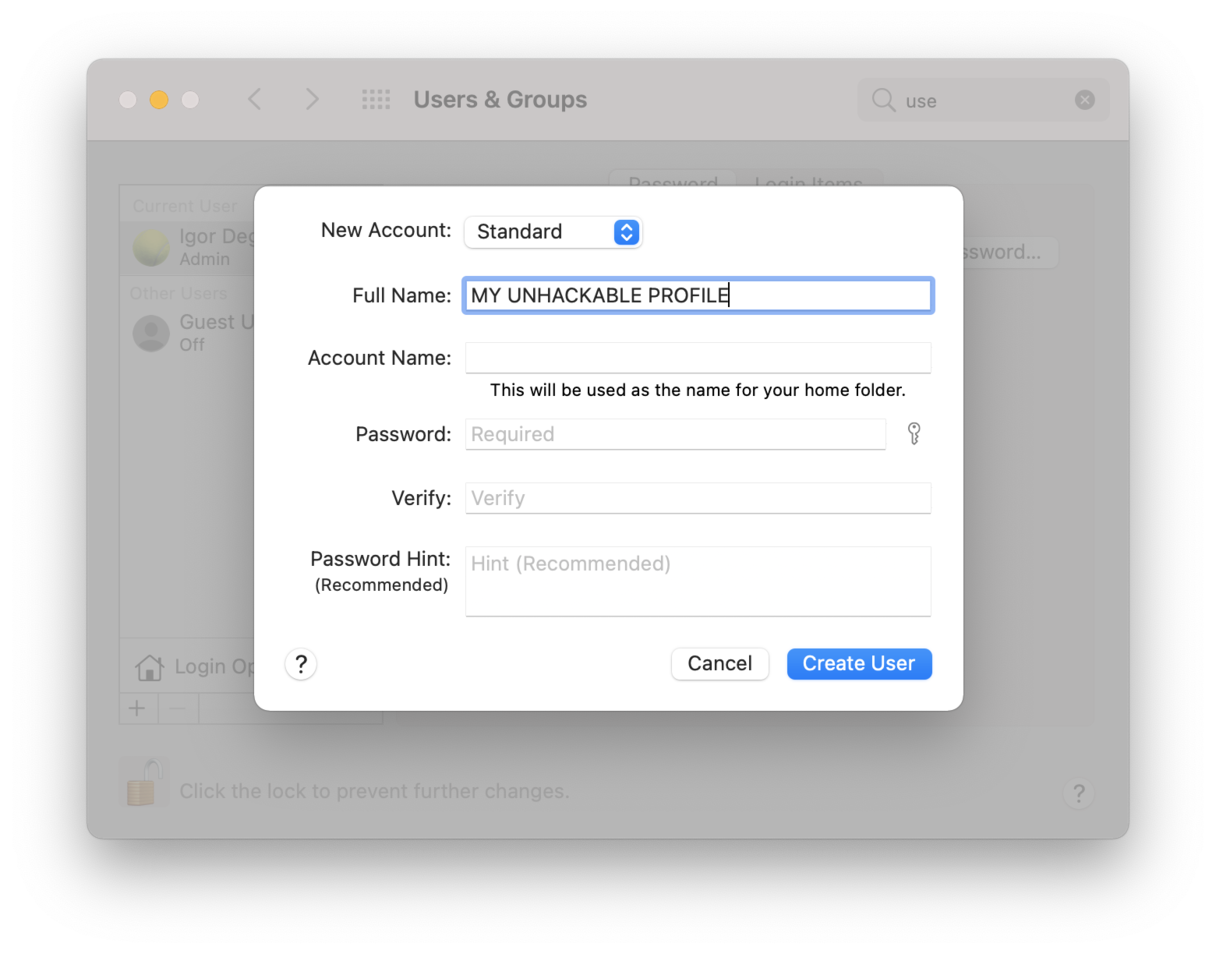 Can my Mac get hacked? | New user profile creation