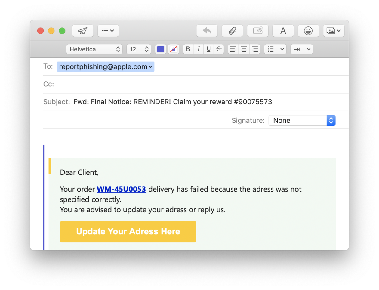 How to report phishing activity to Apple