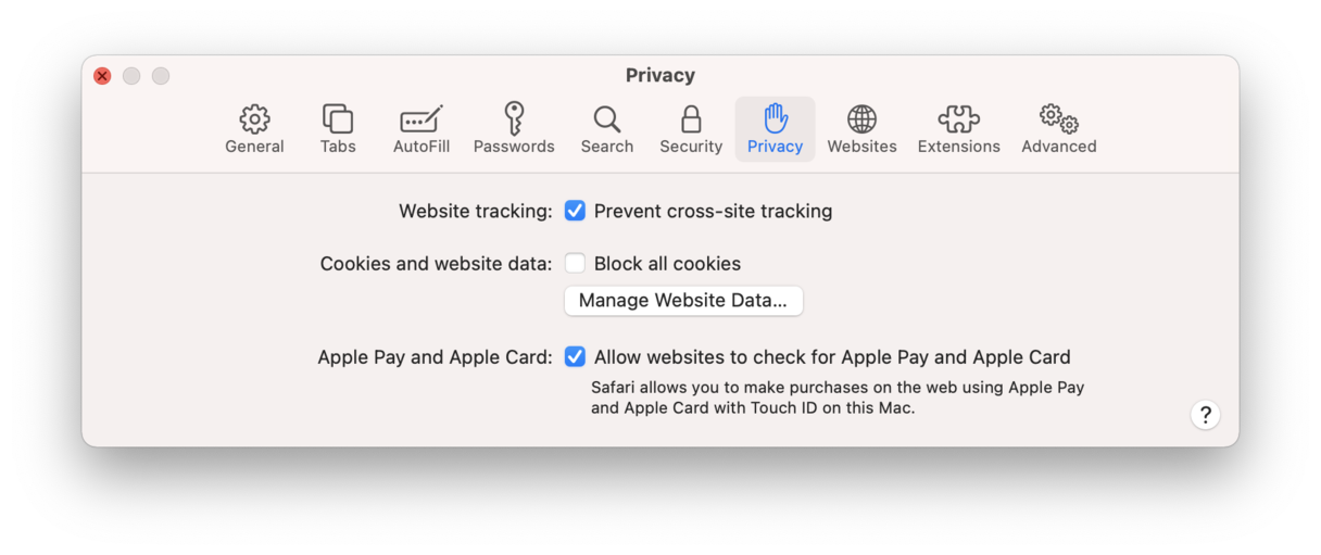Check Prevent cross-site tracking