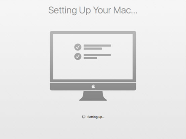 Setting up your Mac message stuck