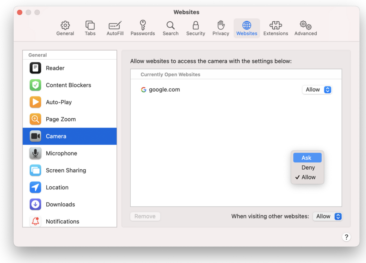 How to disable camera in Safari