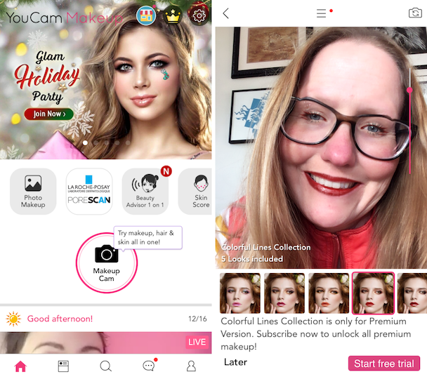 Screenshots fo YouCam Makeup, a makeup photo editor for selfies