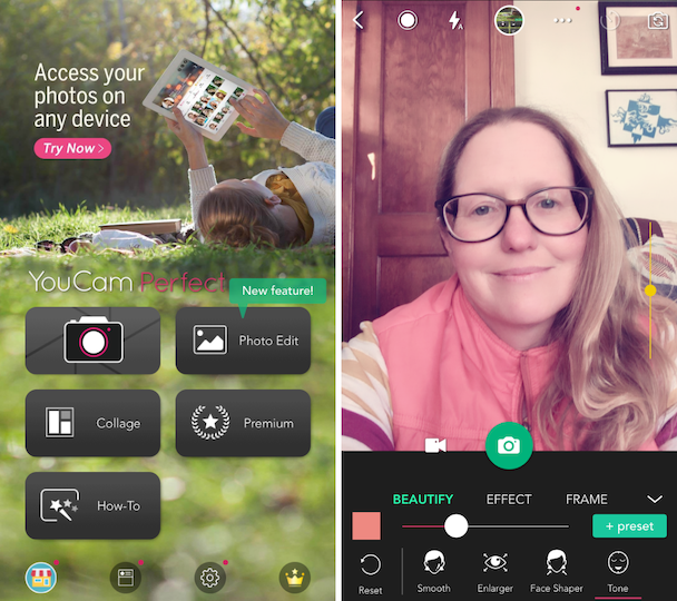 Screenshots of YouCam perfect, a beauty camera app for iPhone