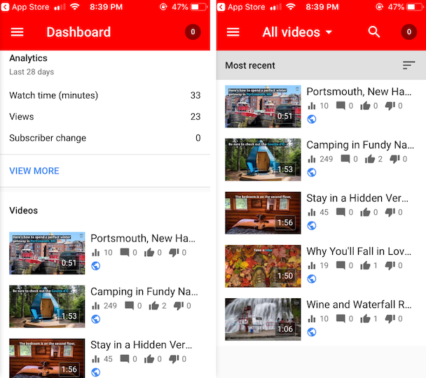 Screenshots of YouTube studio, YouTube's own video editor