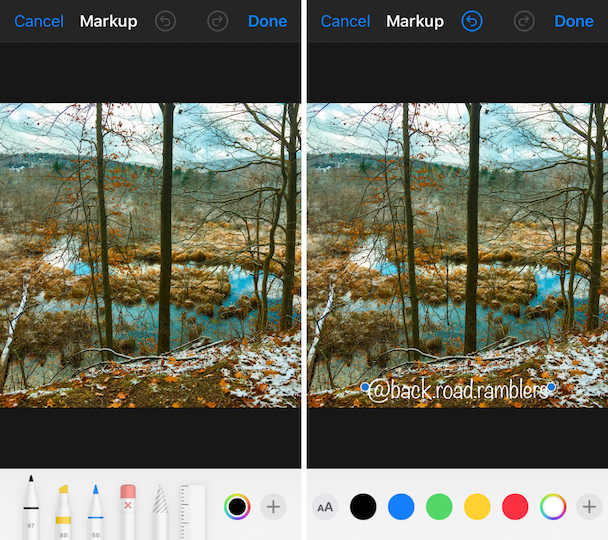 Screenshots: How to watermark images using iOS Photos