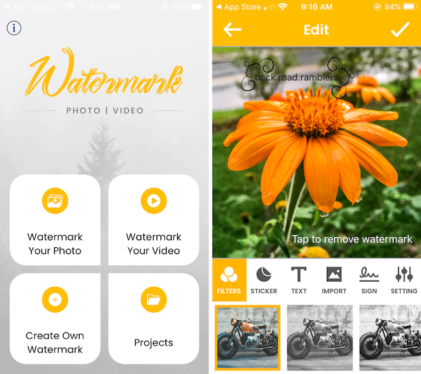 Screenshots: How to use the Watermark Photo app