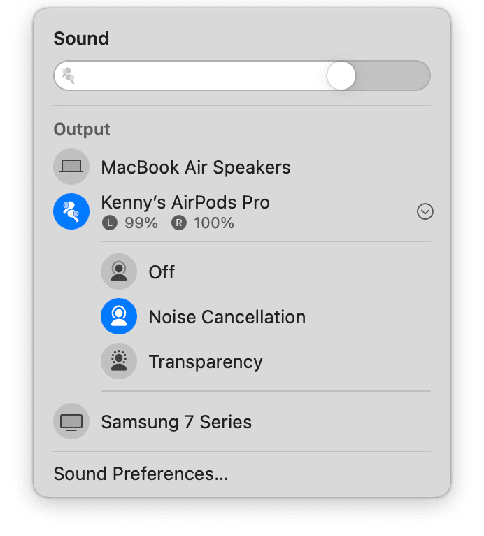 Airpods in Mac Bluetooth panel