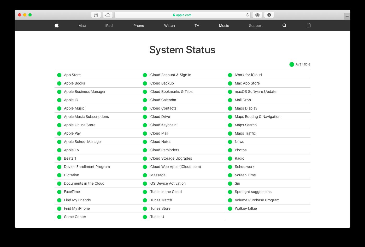 apple server system status