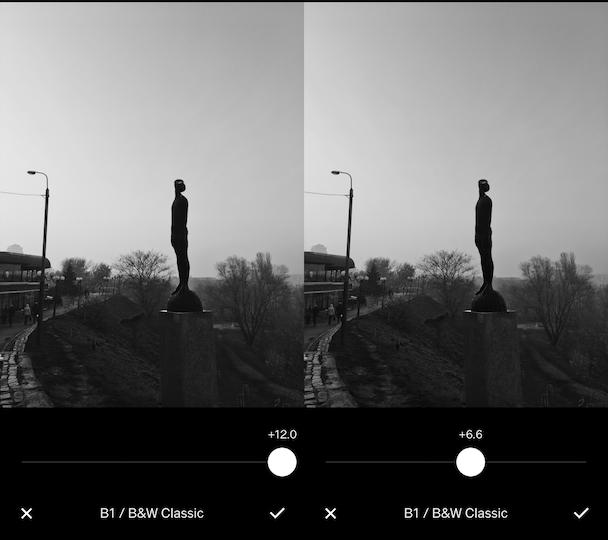 B1, the best free VSCO filter for monochrome photos