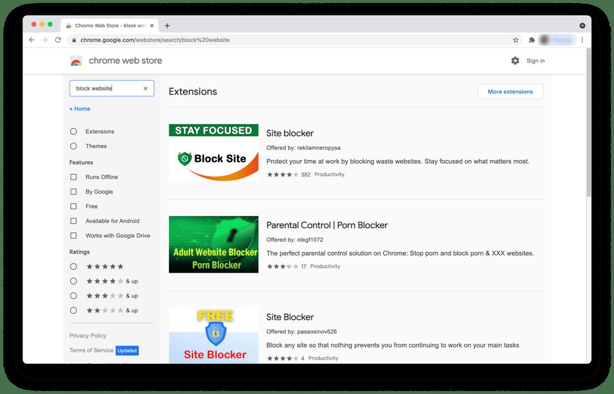 Site blocker extensions