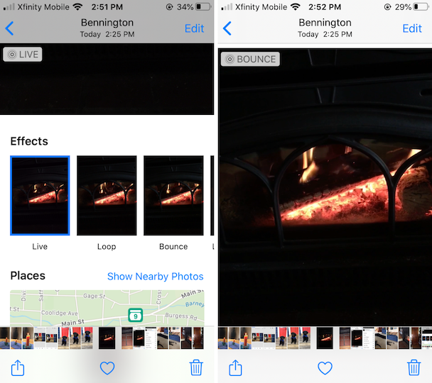 Screenshot: How to make a Live photo into a Loop or Bounce video