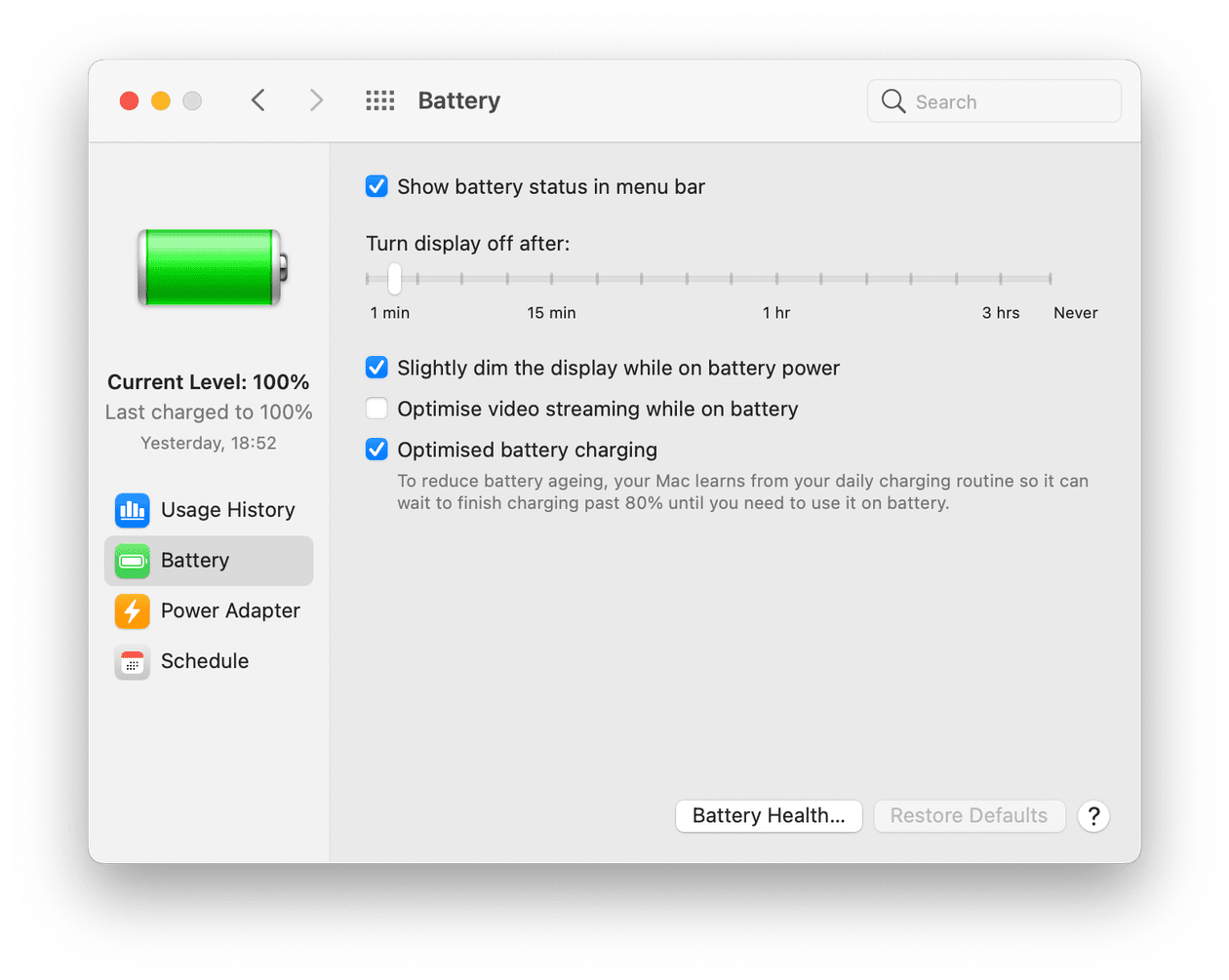 Macbook battery settings
