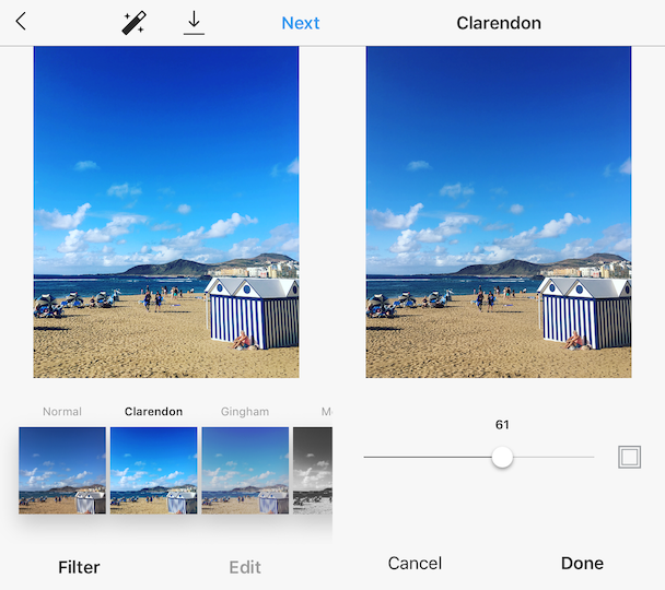 Clarendon, the best Instagram filters for beaches and nature