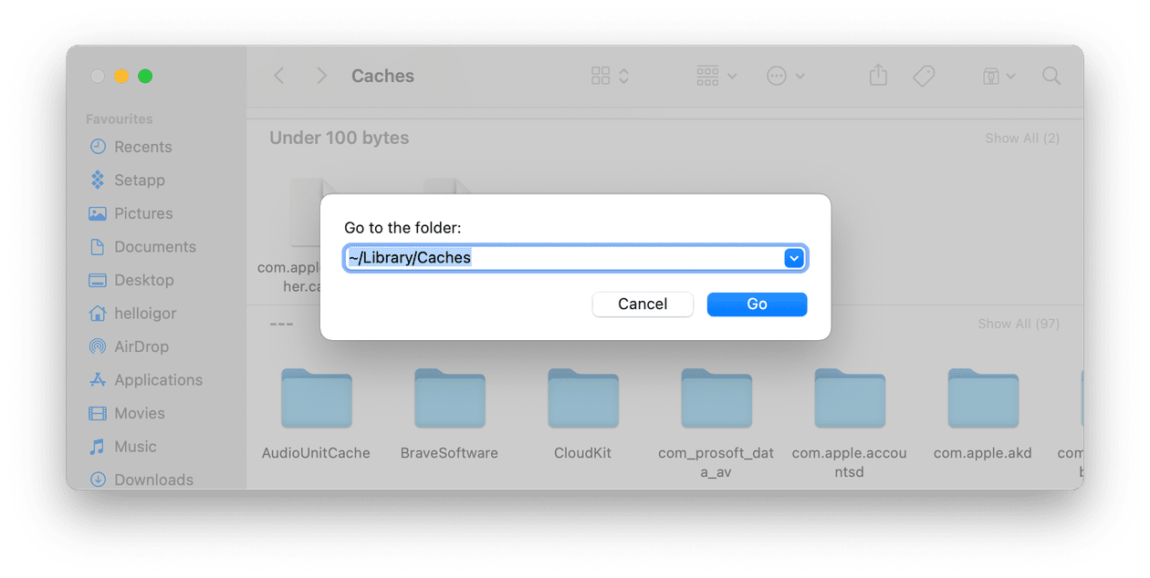 How to open cache folders on Mac