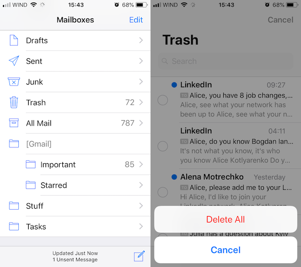 How to free up space in iCloud: Empty Mail Trash
