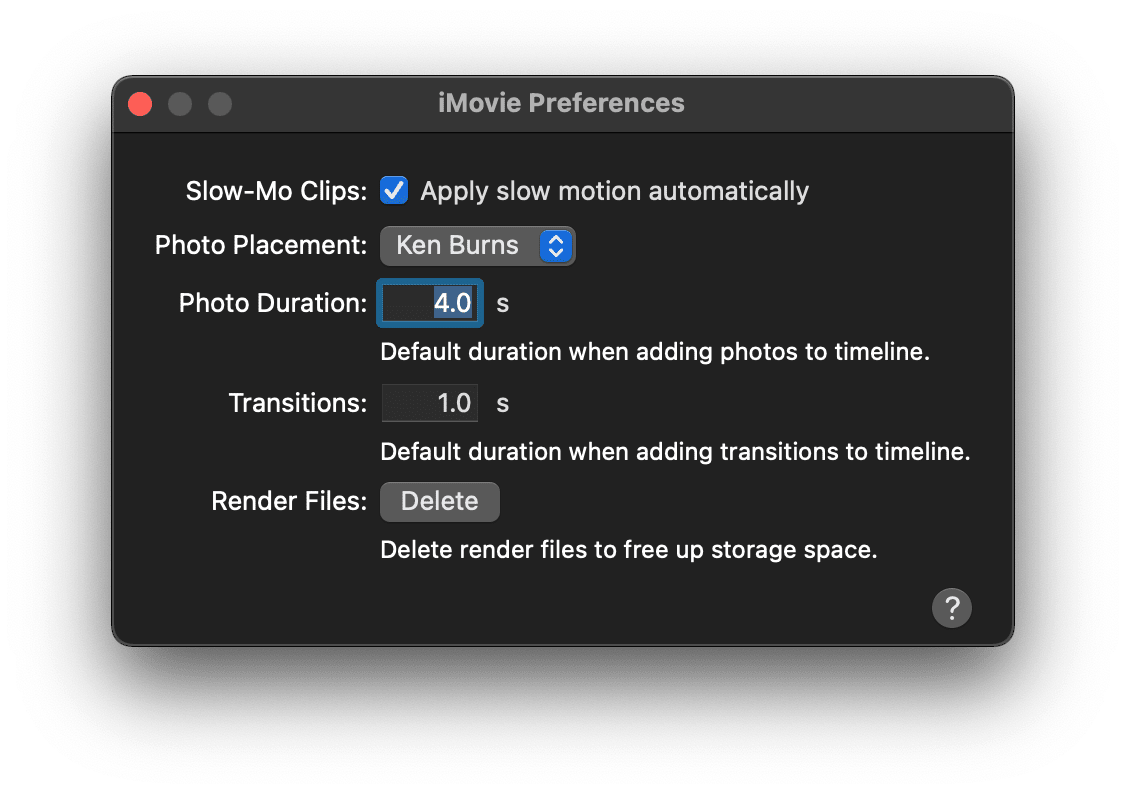 How to choose rendering settings in iMovie