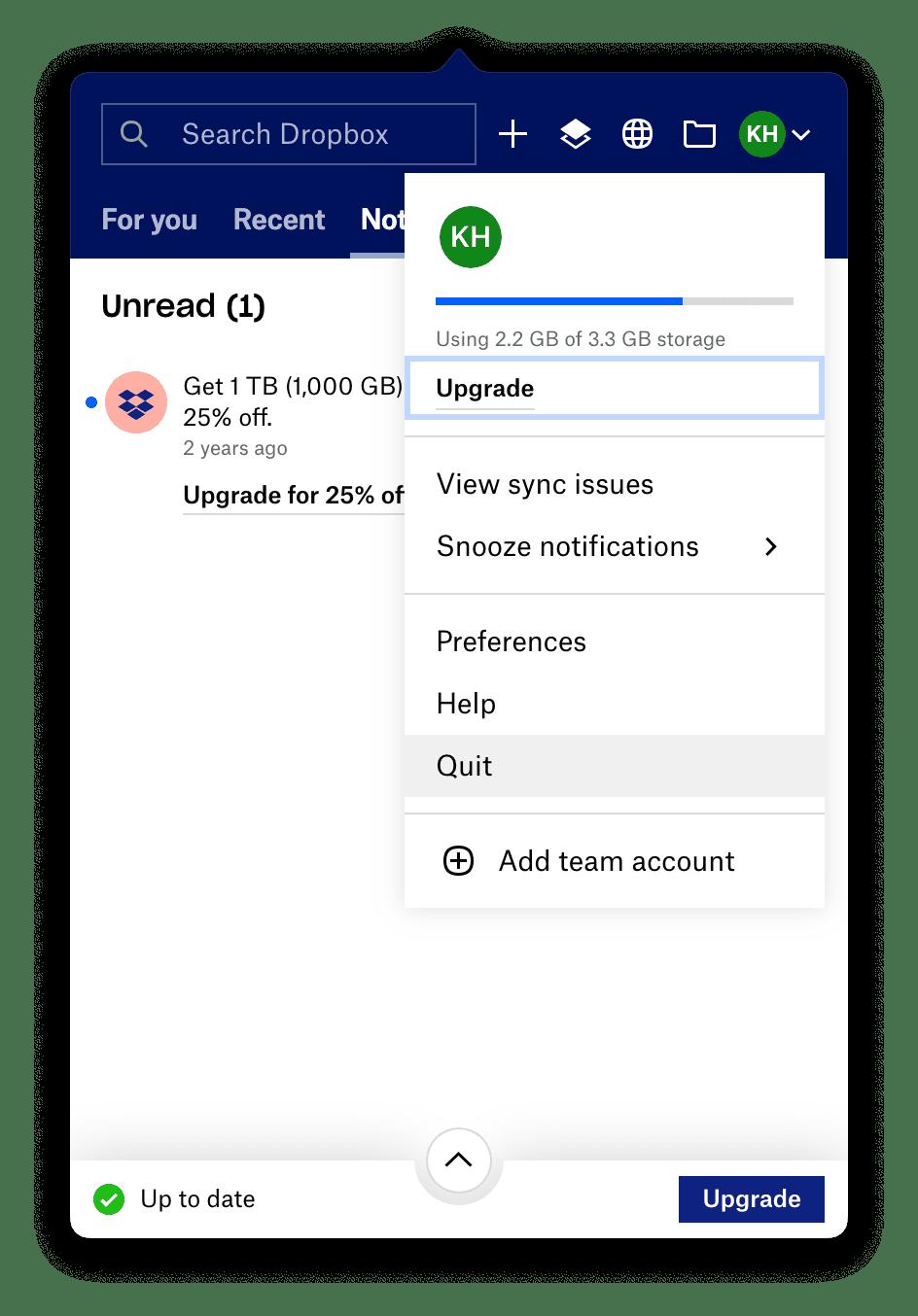How to quit Dropbox