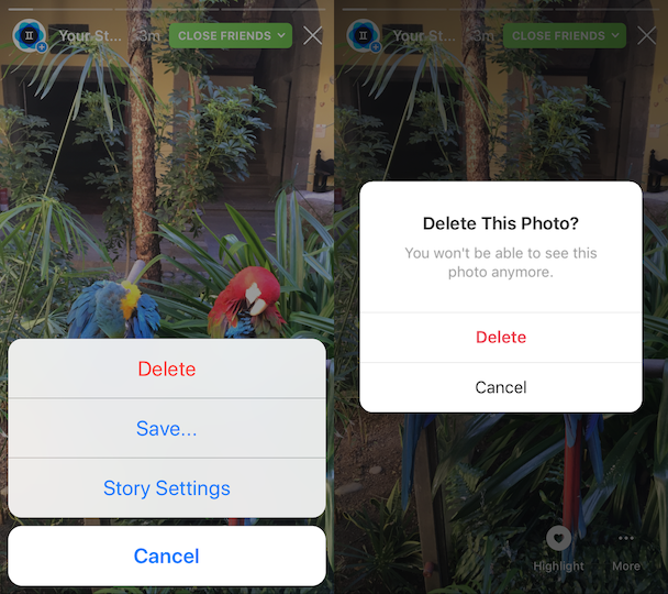 How to delete an IG Story