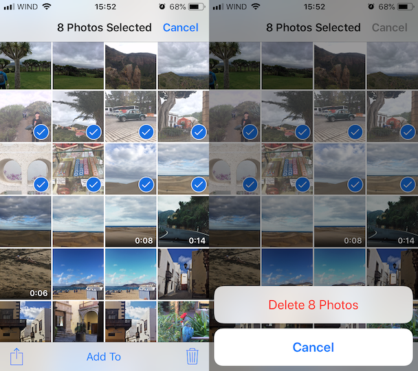 How to remove multiple iPhone photos
