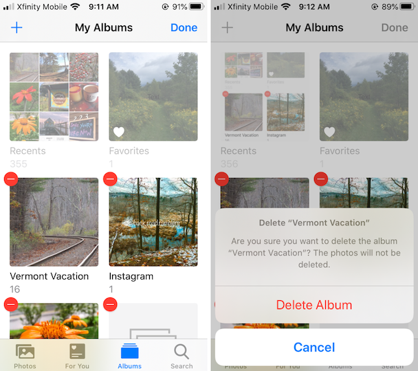 Screenshots: How to delete a photo album on iPhone