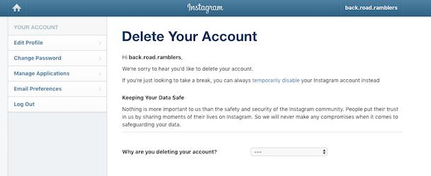 Screenshots: How to delete your Instagram account on desktop