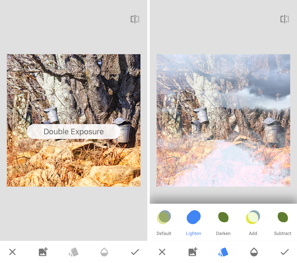 How to superimpose pictures with Snapseed
