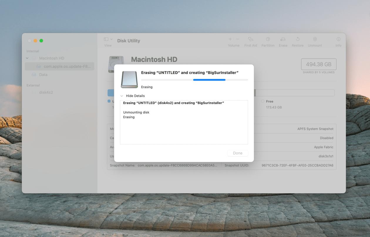 Creating a bootable installer of macOS Big Sur