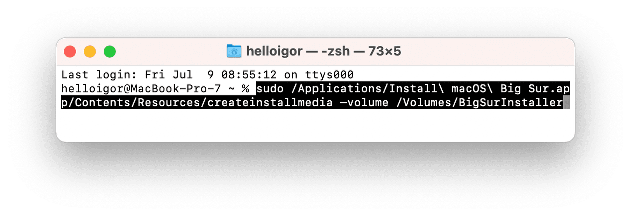Creating a bootable installer with Terminal
