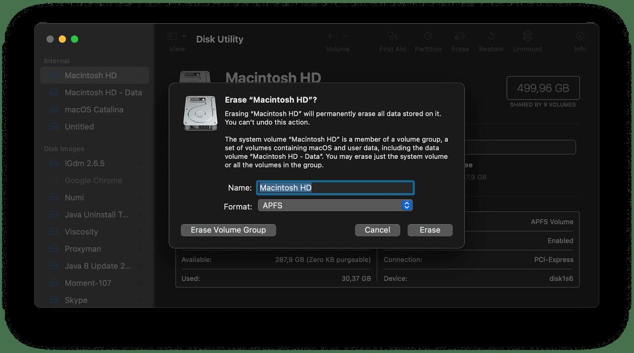 Erasing Mac startup disk