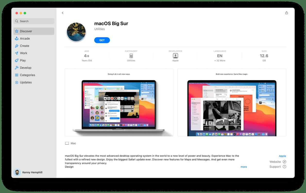 macOS Big Sur installer file