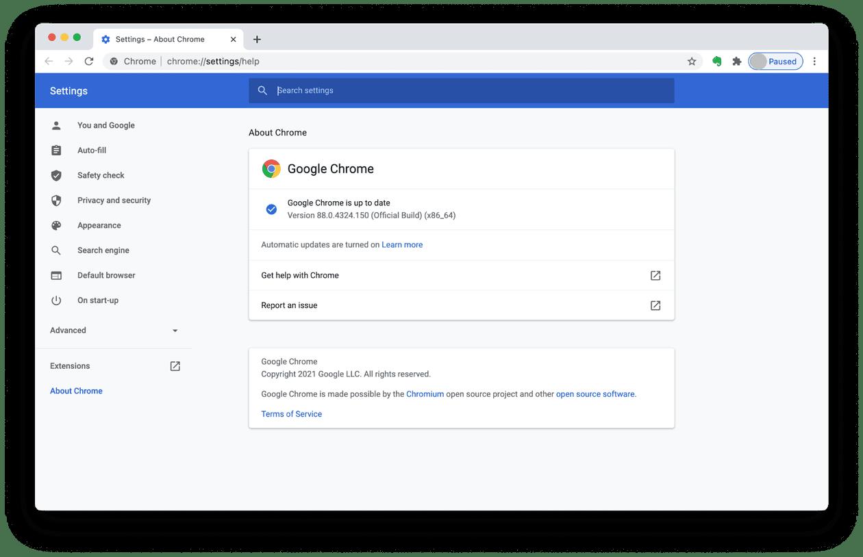 How to update Chrome on Mac