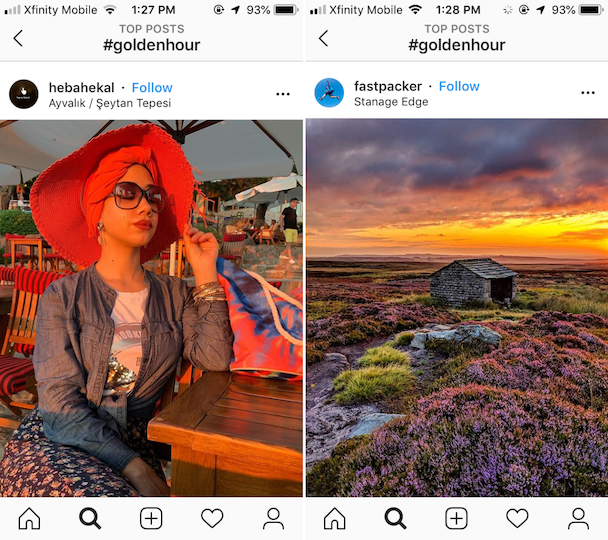 Examples of golden hour photography on Instagram
