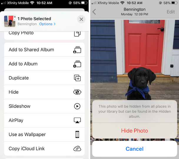 Screenshots: How to create a hidden album on iPhone