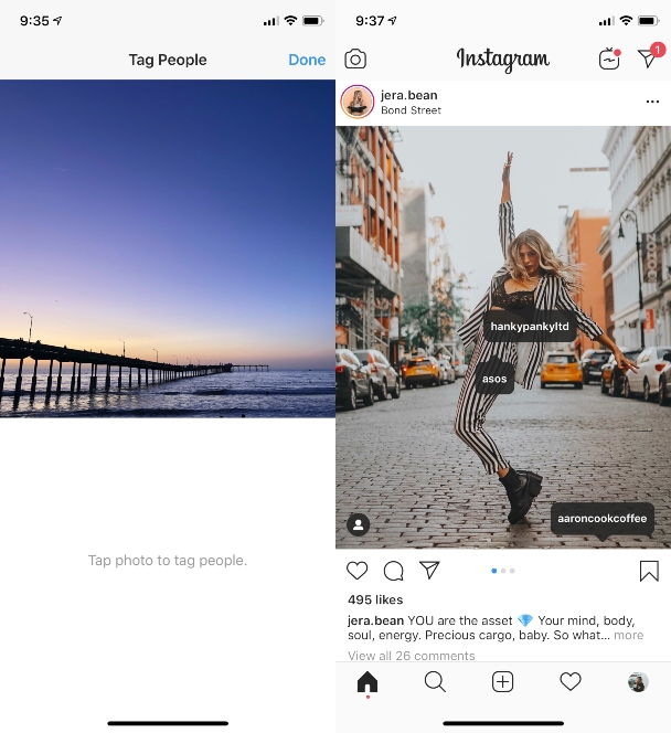 Screenshots: How to gain likes by tagging other people