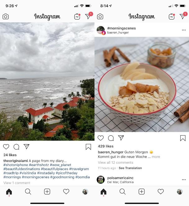 Screenshots: Using Instagram hashtags sparingly