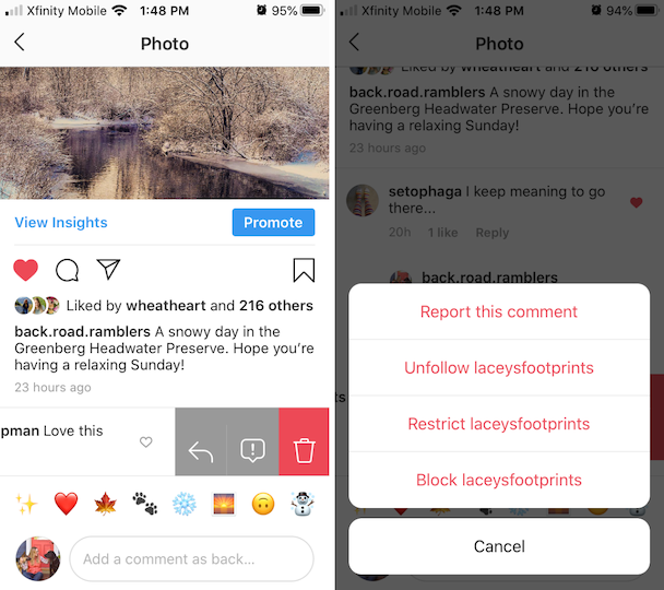 How to keep someone from leaving comments on your Instagram posts