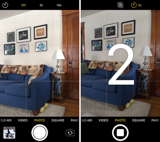 How to set the timer on iPhone's camera