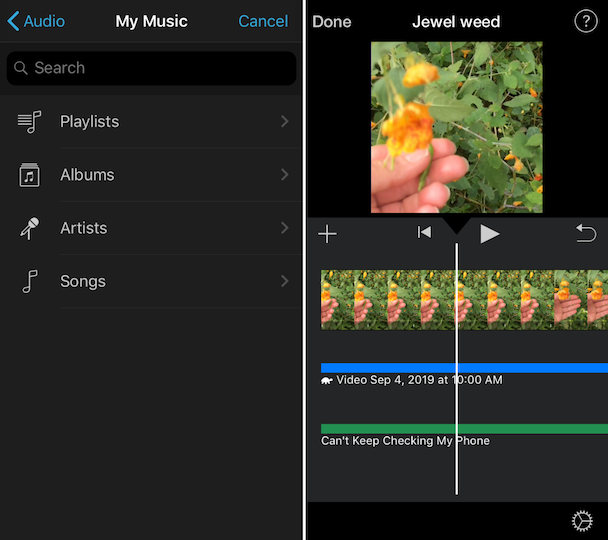 Screenshots: How to import your own music to iMovie