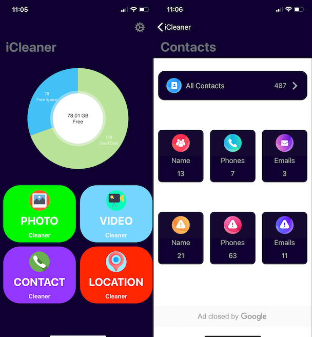 Screenshots of iCleaner, an iPhone cleanup app