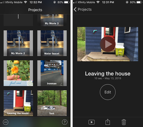 Screenshots of iMovie, the native iOS video editor for Instagram