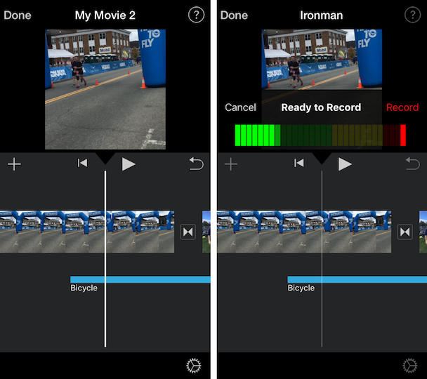 Screenshots of iMovie, the native iOS video editor that works for YouTube videos