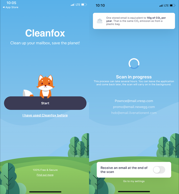 Screenshots of Cleanfox, a cleaner app for iPhone email