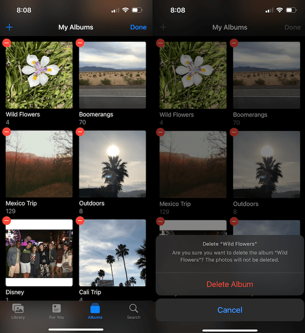 How to delete a photo album on iPhone