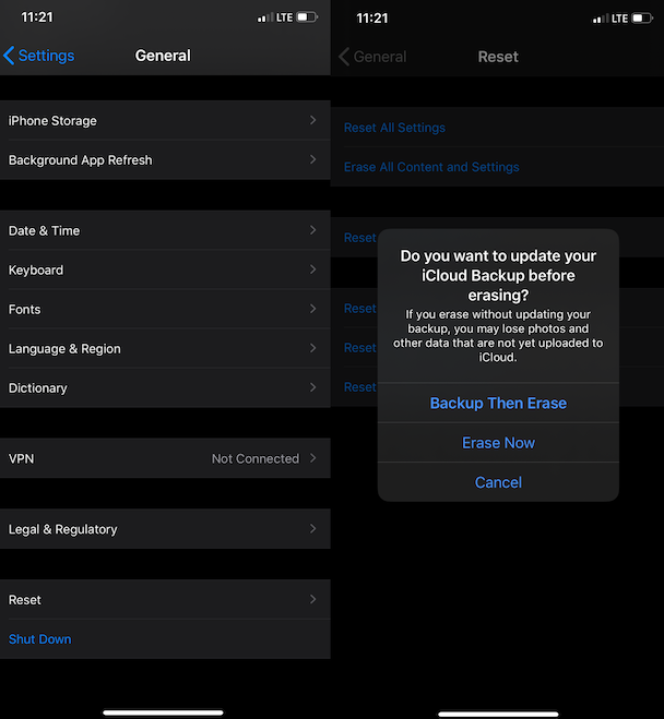 How to erase all content and settings on an iPhone